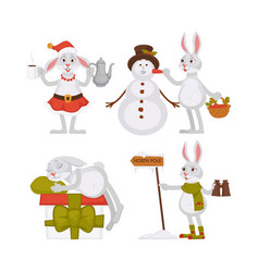 Adorable christmas rabbits and funny snowman in vector