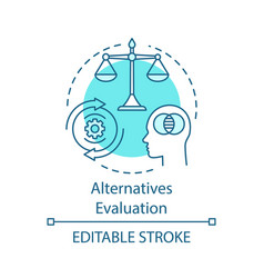 Alternatives evaluation turquoise concept icon vector