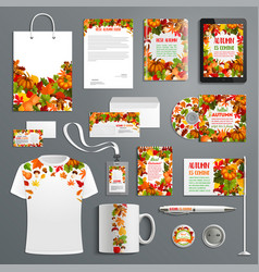 autumn nature corporate identity template set vector image