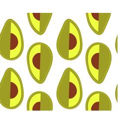 Avocado seamless pattern sliced cartoon vegetable vector