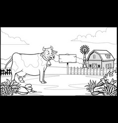 black and white coloring page cow in ranch vector image