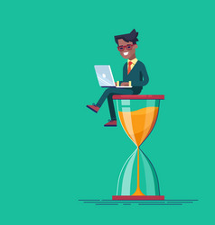 black man sitting on hourglass with laptop vector image