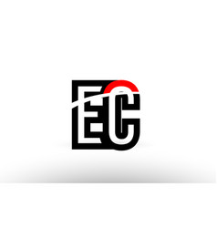 Black white alphabet letter ec e c logo icon vector