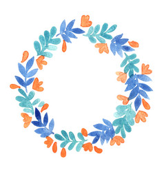 blue leaf and peach pink flower wreath vector image