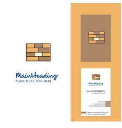 bricks wall creative logo and business card vector image