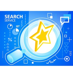 Bright star and search glass on blue backgro vector