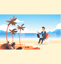 Businessman freelance remote working place beach vector