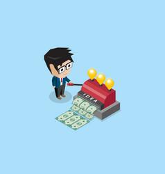 Businessman use idea machine to make banknotes vector