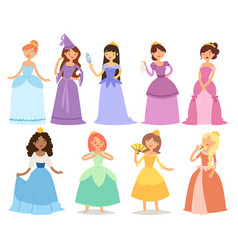 Cartoon girl princess characters different fairy vector