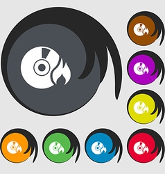 CD icon sign Symbols on eight colored buttons vector image