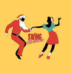 Christmas couple dancing swing rock or lindy hop vector