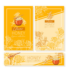 Clover honey print template yellow and orange vector