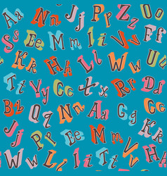 colorful english alphabet seamless pattern vector image