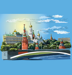 colorful hand drawing moscow-1 vector image