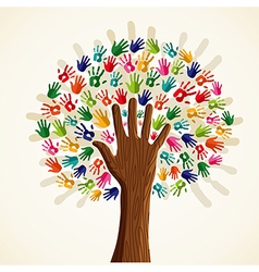 Colorful human hands tree vector image