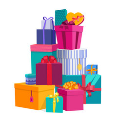colorful wrapped gift boxes beautiful present box vector image