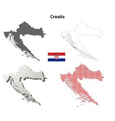 Croatia outline map set vector