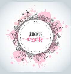 cupcake background with handdrawn cupcakes and vector image
