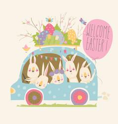 Cute cartoon bunnies driving a car with easter vector