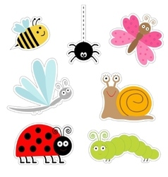 Cute cartoon insect sticker set Ladybug dragonfly vector