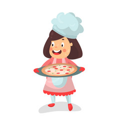 cute cartoon smiling little girl chef character vector image