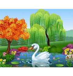 Cute swan floats on mountain river vector
