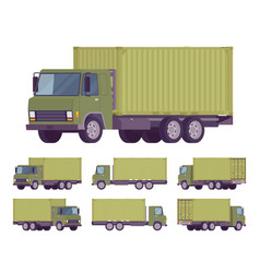 Euro truck with green metal container vector