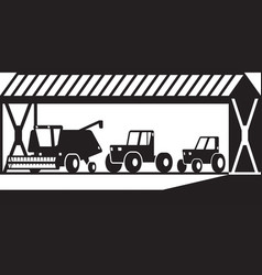 farm building with agricultural machinery vector image
