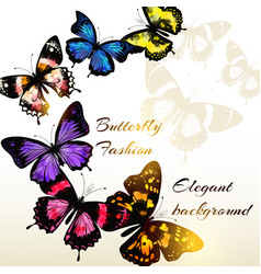 fashion background with beautiful butterflies vector image