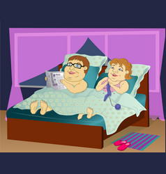 Fat people in bed vector