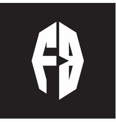 Fb logo monogram with octagonal ribbon style vector