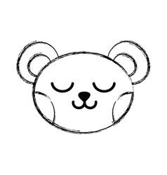 figure sleeping bear head cute animal vector image