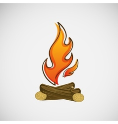 Fire burning on wood design vector