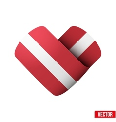 Flag icon in the form of heart I love Latvia vector