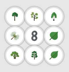 flat icon ecology set of timber rosemary forest vector image