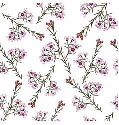 floral vintage seamless pattern pink flowers bran vector image
