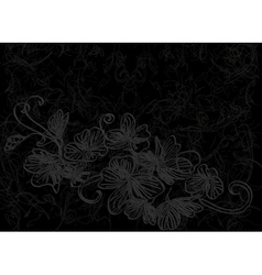 Flower design abstract background black vector