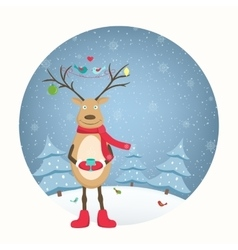 Funny deer character decorated antlers snowfall vector image