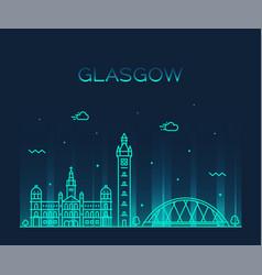 Glasgow skyline scotland trendy line style vector