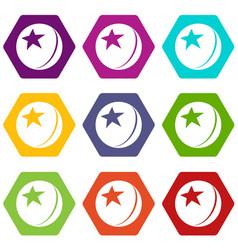 glossy star ball icons set 9 vector image