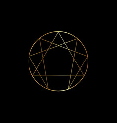 Gold enneagram icon sacred geometry isolated vector