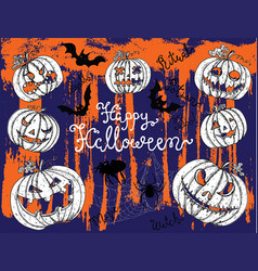 Halloween background with scary pumkin heads vector