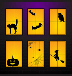 halloween windows in house set vector image