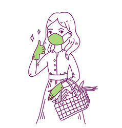 Hand drawn style cute woman vector