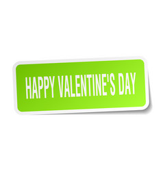 Happy valentines day square sticker on white vector