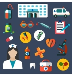 Hospital and medicine flat icons vector image