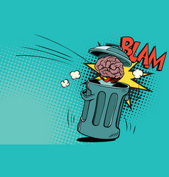 human brain is thrown in the trash vector image