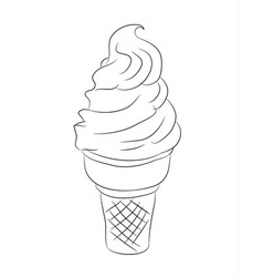 ice cream in a waffle cup lines vector image