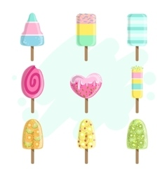 Ice creams on stick collection vector