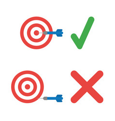 Icon set bulls eye hit target and miss the vector